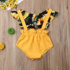 Sunflower Ruffle Crop Top W/ Mustard Suspender Sunsuit Baby Girl Fashion Crop Mustard Ruffle Sunflower Sunsuit Suspender Top Cute Baby Girl Outfits, Kids Outfits, Cute Outfits, Baby Outfits Newborn, Baby Girl Newborn, Toddler Outfits, My Baby Girl, Baby Boys, Toddler Girls