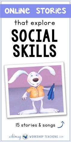 Animated Stories for Social Skills – Whimsy Workshop Teaching A great list of online stories and songs to explore social skills and character building (free list of stories and songs) Preschool Social Skills, Social Emotional Activities, Social Skills Lessons, Social Emotional Development, Counseling Activities, Therapy Activities, Life Skills, Social Skills Autism, Therapy Worksheets