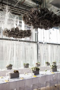 INDUSTRIAL CHIC - A close up of those incredible chandeliers!! Styled by The Style Co.