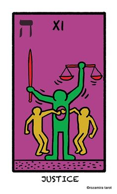 Justice Tarot of the world in colours