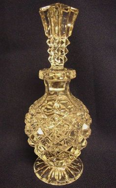 Vintage Pressed Glass Perfume Bottle Diamond Hobnail Clear Footed