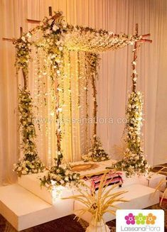 Hanging tree decorations wedding beautiful Ideas for 2019 Flower Decoration For Ganpati, Ganpati Decoration Design, Mandir Decoration, Ganapati Decoration, Flower Decorations, Desi Wedding Decor, Wedding Hall Decorations, Marriage Decoration, Wedding Mandap