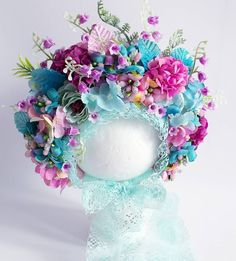 Turquoise & purple 😍👑🌸🌿🌸🌿🌸 RTS Newborn flower bonnet months, only one available Link in bio to purchase… Corona Floral, Sofia Rose, Bday Girl, Millinery Hats, Turquoise And Purple, Baby Bonnets, Rainbow Baby, Felt Flowers, Baby Headbands