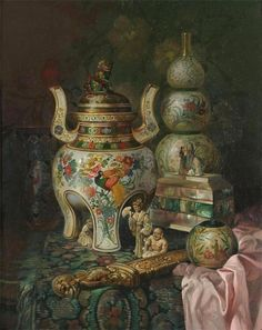 Ludwig Augustin: Still Life with Oriental Ceramics on a Draped Table. Oil on canvas, 51 × 40.5cm.