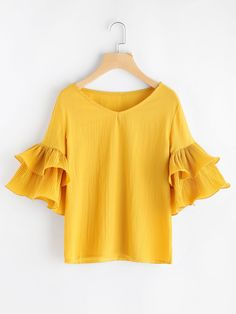Shop V Neckline Tiered Bell Sleeve Top online. SheIn offers V Neckline Tiered Bell Sleeve Top & more to fit your fashionable needs.