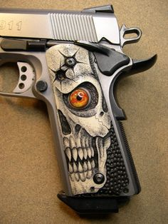 Skull pistol grip. Home protection. Do not enter the property I pay taxes for. No warning shots. I WILL NOT BE A VICTIM (REPEAT.REPEAT.REPEAT.REPEAT.)