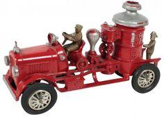 Toy, Hubley fire engine pumper/steamer truck, cast iron : Lot 1073