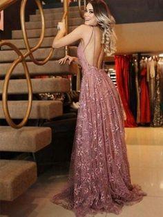A-line V-neck Pink lace evening dresses, Cheap prom dresses, The long . - A-line V-neck Pink lace evening dresses, Cheap prom dresses, The long … dresses dresses - V Neck Prom Dresses, Cheap Evening Dresses, Cheap Prom Dresses, Ball Dresses, Dance Dresses, Sexy Dresses, Dress Prom, Boho Prom Dresses, Fashion Dresses