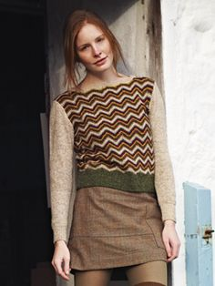 Knit this womens sweater with zig zag stripe pattern from our Tweed Collection. A design by Marie Wallin using Rowan Fine Tweed using Rowan Fine Tweed, a  lovely Yorkshire yarn perfect for fairisle and colour work comprising 100% wool. This knitting pattern is suitable for intermediate knitters.