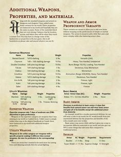 DnD 5e Homebrew — Weapons, Properties, Materials by CreepOshiri
