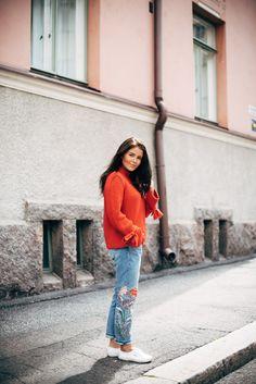 Bright knit + denim | Annika Ollila