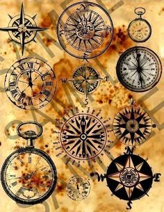 Vintage Compass Faces Digital Collage Sheet by phenomenon1859, $1.55