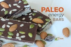 This Paleo energy bars recipe is made with bananas and packed with hearty nuts and seeds to keep you satisfied throughout the day. Paleo Pumpkin Recipes, Almond Flour Recipes, Paleo Recipes, Free Recipes, Paleo Meals, Coconut Flour, Alkaline Recipes, Almond Meal, Vegan Pumpkin