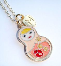 Russian Doll Personalized Charm Necklace - Matryoshka Jewelry - Nesting Doll Pendant - Babushka Doll Jewellery - Initial Jewelry - Necklace by BellaAniela on Etsy https://www.etsy.com/listing/181714041/russian-doll-personalized-charm-necklace