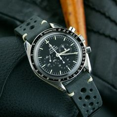 Our Black Classic Vintage Racing Strap on the Speedy for #SpeedyTuesday