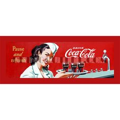 Coke Waitress Stretched Canvas Print 12 x 36 Inches. Available on www.retrooutlet.com for only $45.00