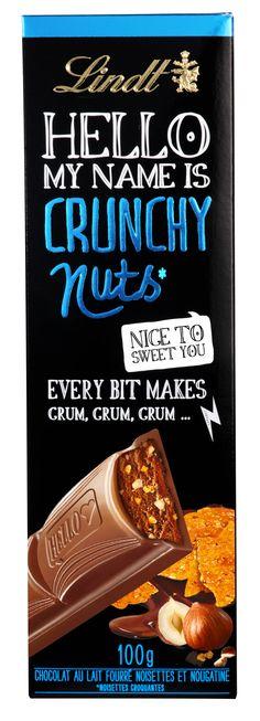 CRIC CRAC... ça croque sous la dent : de la nougatine, des noisettes et du bon chocolat au lait Lindt, voici Lindt HELLO Crunchy Nuts !
