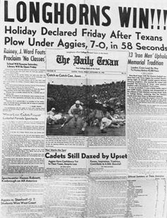 Front page of The Daily Texan after Texas Longhorns' 1940 upset win over A & M keeing the Aggies from a perfect season and winning the National Championship
