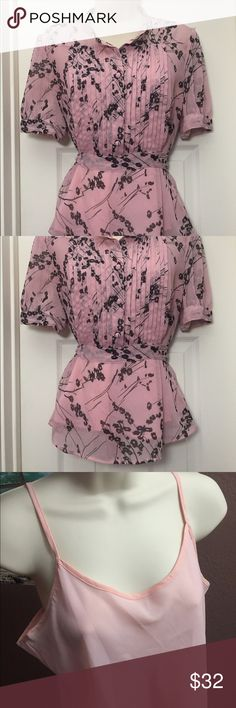 """Apt 9 Petite Large Asian Floral Top Sheer Blush Apt 9 Top Petite Large Asian Inspired Pink Floral Sheer Top Short Sleeve PL. Asian style floral sheer top with pink camisole. Blush pink with black flower detail. Pink crew neck dressy career top with button down front with tie in back. Measurements while laid flat.  Chest: 19""""  Length: 25"""" Sleeve: 10"""" Apt. 9 Tops Blouses"""