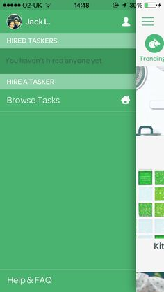 Task Rabbit- side menu, nice UI