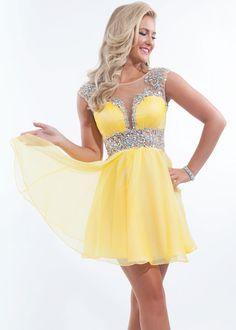 Rachel Allan 6645 Yellow Chiffon A-line Short Cocktail Dress - RissyRoos.com