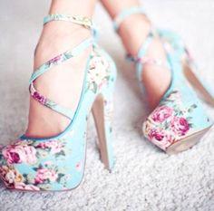 Aqua floral strappy heels