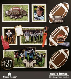 My Time To Play: Football Layout with Want2Scrap Overlay and Paper House 3D stickers