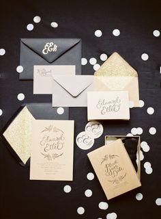 black and white invites.