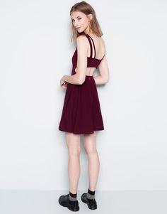 Pull&Bear - mujer - vestidos - vestido banda espalda - granate - 09391367-I2014