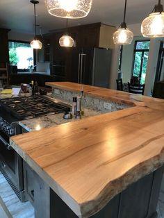 Live Edge Maple Kitchen Countertop - home/home Home Decor Kitchen, Kitchen Living, Country Kitchen, New Kitchen, Kitchen Bars, Rustic Kitchen Island, Maple Kitchen, Earthy Kitchen, Breakfast Bar Kitchen