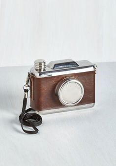Delight, Camera, Action! Flask. Smile for the camera-shaped flask and say cheers! #brown #modcloth