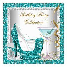 Glitter Teal Blue High Heel Shoes Gold Martini 2