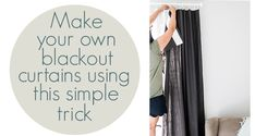 Super Easy DIY Blackout Curtains - Living Letter Home Super Easy DIY Blackout Curtains – Living Letter Home<br> The easiest trick to turn any curtains you may have into your own DIY blackout curtains, making these perfect for a nursery or kid's rooms! Diy Blackout Curtains, Custom Curtains, Blackout Shades, Blackout Panels, Nursery Curtains, Curtains Living, Drop Cloth Curtains, Diy Curtains, Picture Wall Living Room