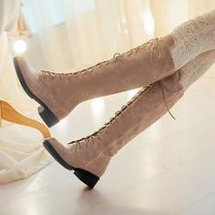 #EricDress - #EricDress Preppy Lace-up Knight Knee High Boots - AdoreWe.com