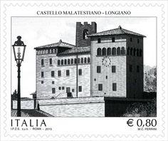 """Francobollo ordinario appartenente alla serie tematica """"il Patrimonio artistico e culturale italiano"""" dedicato al Castello Malatestiano di Longiano"""