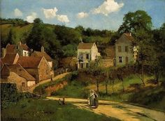 ca 1869 Camille Pissaro (Danish-French Impressionist and Neo-Impressionist; 1830-1903) ~ L'Hermitage at Pontoise, via