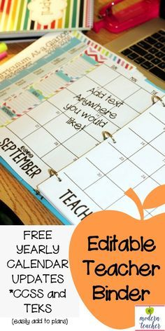 free calendar updates; bright colors and clean design; This teacher planner and classroom binder to stay organized and well-prepped all year long $