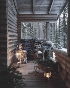"""1,964 Likes, 20 Comments - Log Cabins (@cabinsdaily) on Instagram: """"Cozy porch vibes?  @cabinsdaily .  @ullaamaija"""""""