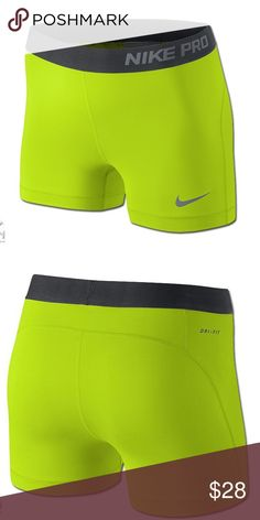 25% off bundles! Nike Pro 3 shorts Nike Pro 3 training shorts. Dri fit and super lightweight. 80% polyester/20% spandex. Color is Volt and Gray Nike Shorts