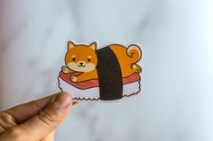Shiba Inu Sticker Super cute Shiba Inu wrapped up in sushi. This sticker is perfect for the Dog Lover in your life. These make a great small gift for anyone. These measure approximately 3 inches on the longest side. Perfect for your laptop, reusable water bottle, or anything you wish to customize. Dog Dad Gifts, Gifts For Dog Owners, Dog Lover Gifts, Dog Lovers, Gifts For Dad, Dad To Be Shirts, Dog Shirt, Shiba Inu, Small Gifts