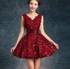 Bride Evening Dress Winter Banquet Red Short Design Formal Dress Slim Female Homecoming Dresses - Hespirides Gifts - 1