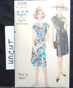VTG Vogue Pattern 5456 Easy 1 Piece Dress Slim Skirt Pleats Cap sleeves Sz 16/36