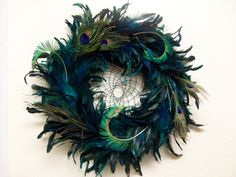 Big Bold Beautiful Peacock & Parrot Feather Dream Catcher – Giant 18in ring! Beautiful gift!