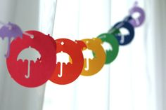 6 Foot - Rain Showers Umbrella Garland - available in your choice of colors  -  Party Banner for Parties, Bridal or Baby Showers