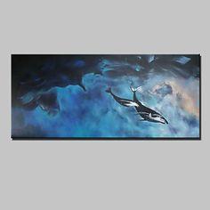 Pintados à mão Abstracto / Paisagem / Animal / Paisagens Abstratas Pinturas a óleo,Modern 1 Painel Tela Hang-painted pintura a óleo For de 5002875 2016 por R$404,55