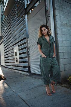 Military/army jumpsuit. Isabel Marant heels. Karla Deras of Karlas Closet.