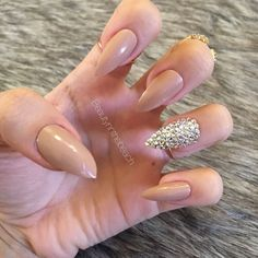 Stiletto nails with rhinestones nude white by BeautyNdTheBeach