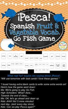 Fun game to help students learn fruit and vegetable vocabulary in Spanish! Same cards work great for Pictionary and Memory, too. Three activities for the price of one!