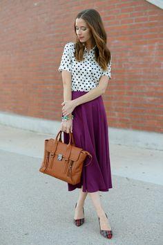 polka dots blouse with maxi skirt