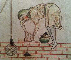 Medieval builder using a plumb-bob